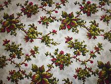 ancien tissu textile coupon coton imprimé fleur couleur vintage URGE 128x100