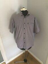 Rockport Mens Medium Shirt Short Sleeved Checked  Cotton Summer