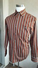 Lacoste Striped Long Sleeve Shirt Size 40 Cotton Red Brown Orange Perfect