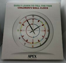 Apex Homeware Easily Learn to Tell Time Children's Wall Clock Silent Movement
