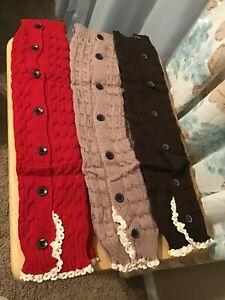 3 Pairs Fancy Leg Warmers Knee High /Boot Socks   Adult Teen Brown Red Mauve