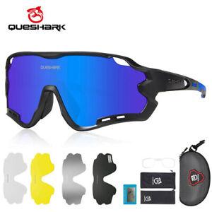 Queshark Anti-UV Sport Glasses Men Polarized Cycling Sunglasses Women 5lens QE44