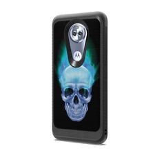 Carbon Fiber Design Black Case Cover Motorola Moto E5 XT1920 Blue Flame Skull
