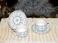 2 German Meissen Blue Strohblumen Strawflower Cup & Saucer Sets Antique Vintage