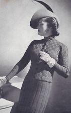 Vintage Knitting PATTERN to make 1930s Knit Suit Dress Skirt NOT finished item
