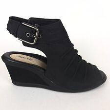 Earth 6.5 M Black Adina Leather Ruched Peep Toe Wedge Sandals