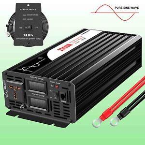 2000W car inverter pure sine 12v/24v/48v dc to ac 120v/230v cooling fan LED