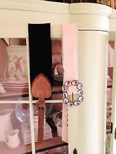 Women's belts 1 cream with artificial diamonds & 1 stretchy black copper heart
