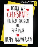 Anniversary Greetings Card Funny Comedy Humour Cheeky Novelty Husband Wife A40