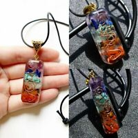 7 Chakra Natural Stone Square Pendant Necklace Reiki Healing Chips Jewelry