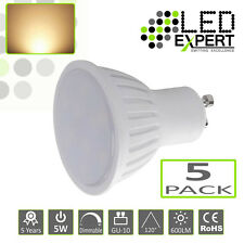 5 x 5W GU-10 LED Bulbs Warm White 5 Year Warranty Super Bright 50w Halogen