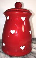 CHRISTMAS HEART TERRAMOTO CERAMIC JAR CANISTER RED WHITE EUC
