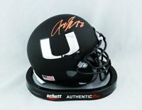 Jeremy Shockey Signed Miami Hurricanes Flat Black Mini Helmet-JSA W Auth *Orange