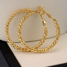 18k Yellow Gold Filled 35mm Earrings 3mm Women's twist ring Hoop GF Jewelry gift