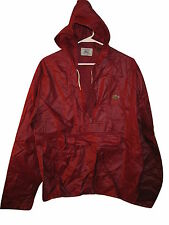 Vtg Mens Izod Lacoste Windbreaker Light Hooded Nylon Jacket ANORAK Red M Medium