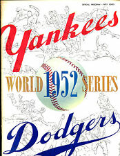1952 World Series Program Brooklyn Dodgers at New York Yankees EX