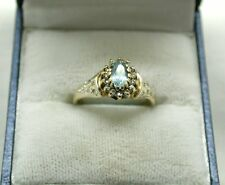Pretty 9ct Gold Blue Topaz And Diamond Cluster Ring