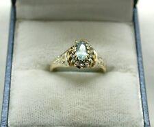 Pretty oro 9 carati blu topazio e diamanti anello di cluster