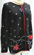 Coldwater Creek Christmas Sweater Large multi color ZIP up Cardigan TAcky UGLY