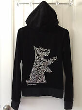 JUICY COUTURE Black Velour Scottie Dog Zip Hoodie Sweatshirt, Size M, EUC, Bling