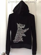 JUICY COUTURE Black Velour Scottie Dog Zip Hoodie Sweatshirt, Size M, EUC, Bling