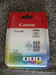 GENUINE CANON PIXMA CLI-8 C/M/Y - 3 COLOUR PRINTER INK CARTRIDGE PACK