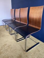 Venjakob Cantilever Dining Chairs Walnut Faux Black Leather X 4 RRP £1400