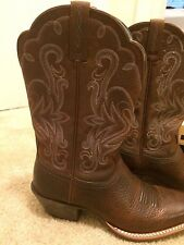 Ariat cowboy boots, brown with light baby blue and gold detail