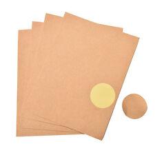 4 hojas Kraft ondulado ronda pegatinas en blanco boda favores etiquetas rústicas