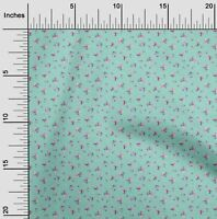 oneOone Cotton Poplin Fabric Leaves Rose & Orchid Flower Floral-Hpq