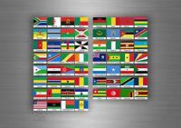 Planche autocollant sticker drapeau pays rangement classement timbre afrique TXT