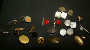 Lot Of Old Cufflinks Pig Tie Tack Red Hearts More