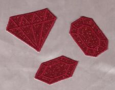 Embroidered Glitter Sparkle 3-Pc Set Ruby Red Diamond Gem Applique Patch Iron On