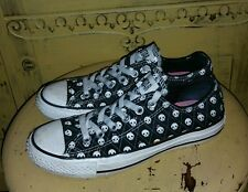RARE CONVERSE CHUCK TAYLOR LOW TOPS SKULL PUNK ROCKER SNEAKERS 7 WM BLACK CANVAS