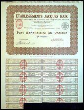 Etablissements Jacques HAÏK (Olympia, Rex Paris) Part Bénéficiaire 1929 - N°2073