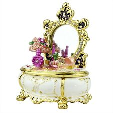 Victorian Dresser White Trinket Box Crystals Hinged w/Real Mirror Enameled NEW