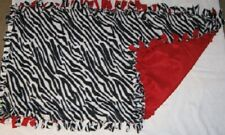 Cat/Dog Fleece Crate/Kennel Med Cuddle Blanket - New - Homemade - Zebra Print
