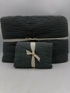 Pottery Barn Belgian Flax Linen Handcrafted King Quilt w/Euro Sham Charcoal 9845