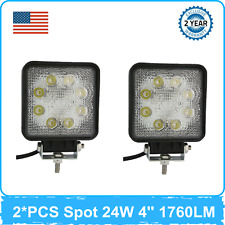 2X 24W LED Work Lights Spot Square Off road Ford 4X4 Chevrolet Utility 12V 24V