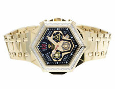 Mens Aqua Master Hexagon Shape 47MM Gold Plated Black Dial Diamond Watch W#356