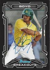 BJ Boyd Oakland Athletics 2013 Bowman Breakouts Signed Card