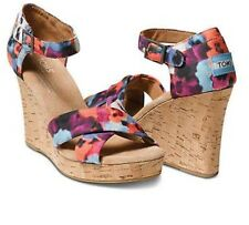Womens Toms Printed Hemp Strappy Wedge Oahu Floral Size 10