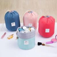 Women Makeup Drawstring Pouch Bucket Barrel Shaped Cosmetic Bag Travel