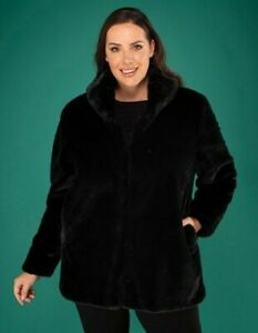 Stolen Heart Faux Fur Coat black,  oyster UK XL new
