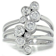 Ring Solid 14K White Gold 1ct Diamond Journey Right Hand
