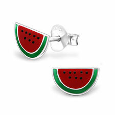 925 Sterling Silver Watermelon Kids Girl Women Stud Earrings Jewellery Gift