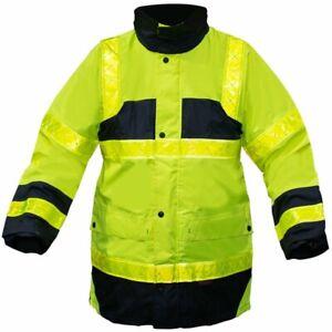 Veste Parka securite Travail haute visibilite Jaune Fluo bandes reflechissantes