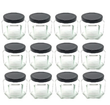 Nakpunar 12 pcs , 4 oz Hexagon Glass Jars with Black Lids for Jam, honey, spices