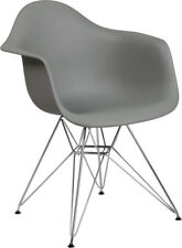 Mid-Century Modern Contour Design Accent Dining Chair in Gray Plastic Finish