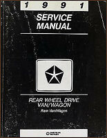 1991 Dodge Ram Van Shop Manual B100 B150 B250 B350 Wagon Service Repair Book RWD
